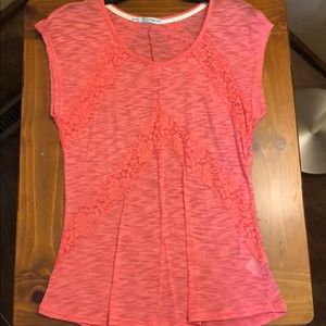 Maurice's coral top w/floral lace accent